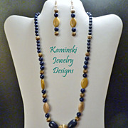 Lapis and Golden Mookite Necklace and Earring Set