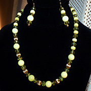 Lemon Jade & Crystal Gold Filled Necklace and Earring Set