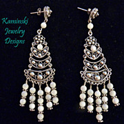 White Mother of Pearl Sterling  Silver Chandelier Earrings