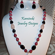 Rhodochrosite Rose Quartz and Onyx Sterling Silver Necklace and Earring Set