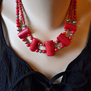 Red Coral and Bali Sterling Silver Double Strand Necklace