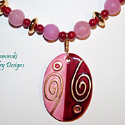 Hand Painted Kabibe Shell, Red Coral and Pink Jade Gold Neck