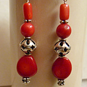 Red Coral Bali Sterling  Earrings