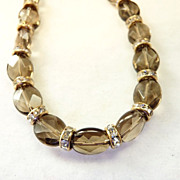 Smoky Quartz Swarovski Crystal Rondelles and Gold Filled Bracelet
