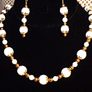 White Shirakai Stone Gold Necklace and Earring Set