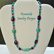 Amethyst and Turquoise Sterling  Necklace