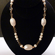 Smoky Quartz Mother of Pearl Gold Necklace