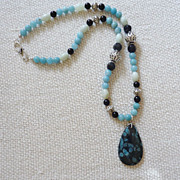 Nipomo Blue Coral Fossil Pendant and Amazonite Sterling Necklace
