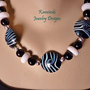 Black & White Zebra Lampwork Bead Necklace