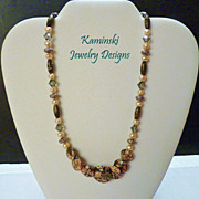Leopard Skin Jasper, Pearls, Crystal and Bali Sterling Silver Necklace