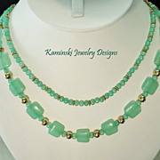 Green Hemimorphite & Gold Filled Double Strand Necklace