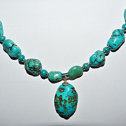 Turquoise Nugget and Sterling Necklace