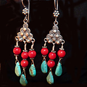 Chandelier Teardrop Turquoise and Coral with Sterling Earrings