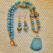 Ocean Blue Variscite Pendant, Grace Lampwork Beads, Blue Chalcedony Gold Filled Necklace