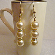 Swarovski Pearl and Gold Crystal Rondelle Earrings