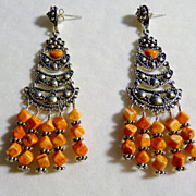 Orange Spiny Oyster and Sterling Chandelier Earrings
