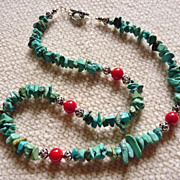 Natural Turquoise Chip and Coral Sterling Necklace
