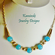 Blue Chalcedony and Gold Filled Necklace
