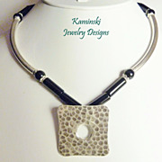 Hill Tribe Sterling Hammered Pendant with Onyx Necklace