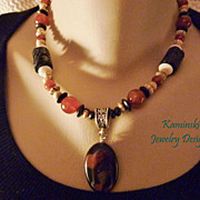 Agate and Carnelian Silver Necklace