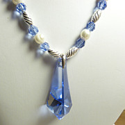 Swarovski  Sapphire Blue Pendant & Sterling Silver Necklace