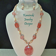 Cherry Quartz (Glass) Peach Freshwater Pearls and Swarovski Crystals Sterling Necklace and ...