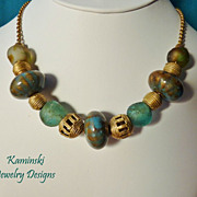 African Trade Beads and Ceramic Beads on Brass Chain
