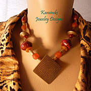 African Trade Beads and Porcelain Beads Brass Necklace