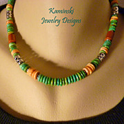Unisex Southwestern Green Turquoise and Orange Spiny Oyster Sterling Necklace
