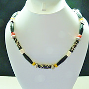 Black and White African Trade Beads and Sterling Necklace