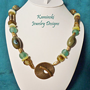 Green and Bronze African Beads and Brass Necklace