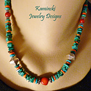 Turquoise, Spiny Oyster and Coral Southwestern Style Necklace