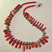 Bamboo Coral and Turquoise Southwestern Style Necklace