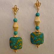 Turquoise and 20K Gold Vermeil Earrings