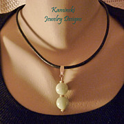 Genuine Jadeite Jade and Gold on Black Leather Necklace