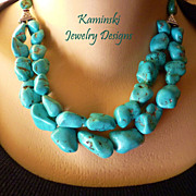 Turquoise Nugget Double Strand Sterling Necklace