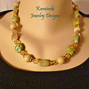 Green Turquoise and Citrine Sterling Necklace