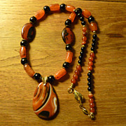 Agate and Onyx Brass Necklace