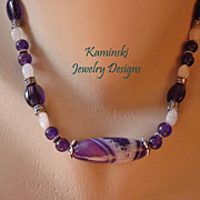 Purple Agate and Amethyst Sterling Necklace