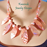 Salmon Pink Mother of Pearl Coral and Freshwater Pearl Necklace and Earring Set