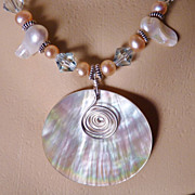 Mother of Pearl Pendant and Freshwater Pearl Sterling Necklace
