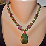 Emerald Green and Copper Necklace and Earring Set