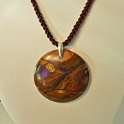 Sonora Hill Jasper Pendant on Brown Twist Cord and Sterling