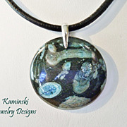 Round Nipomo Blue Coral Fossil Pendant on Leather with Sterling