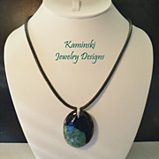 Black and Green Druzy Agate on Black Leather Cord with Sterling