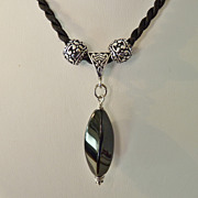 Black Onyx & Miovi Silver Beads on Black Cord Necklace