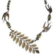 'Swallows' Asymmetrical Necklace with Crystals and Fern Frond
