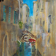 Venice Italy original acrylic painting on paper 11&quot;x15&quot; by contemporary artist Monic
