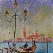 "Venice Italy original acrylic painting on paper 11""x15"" by contemporary artist Monic"