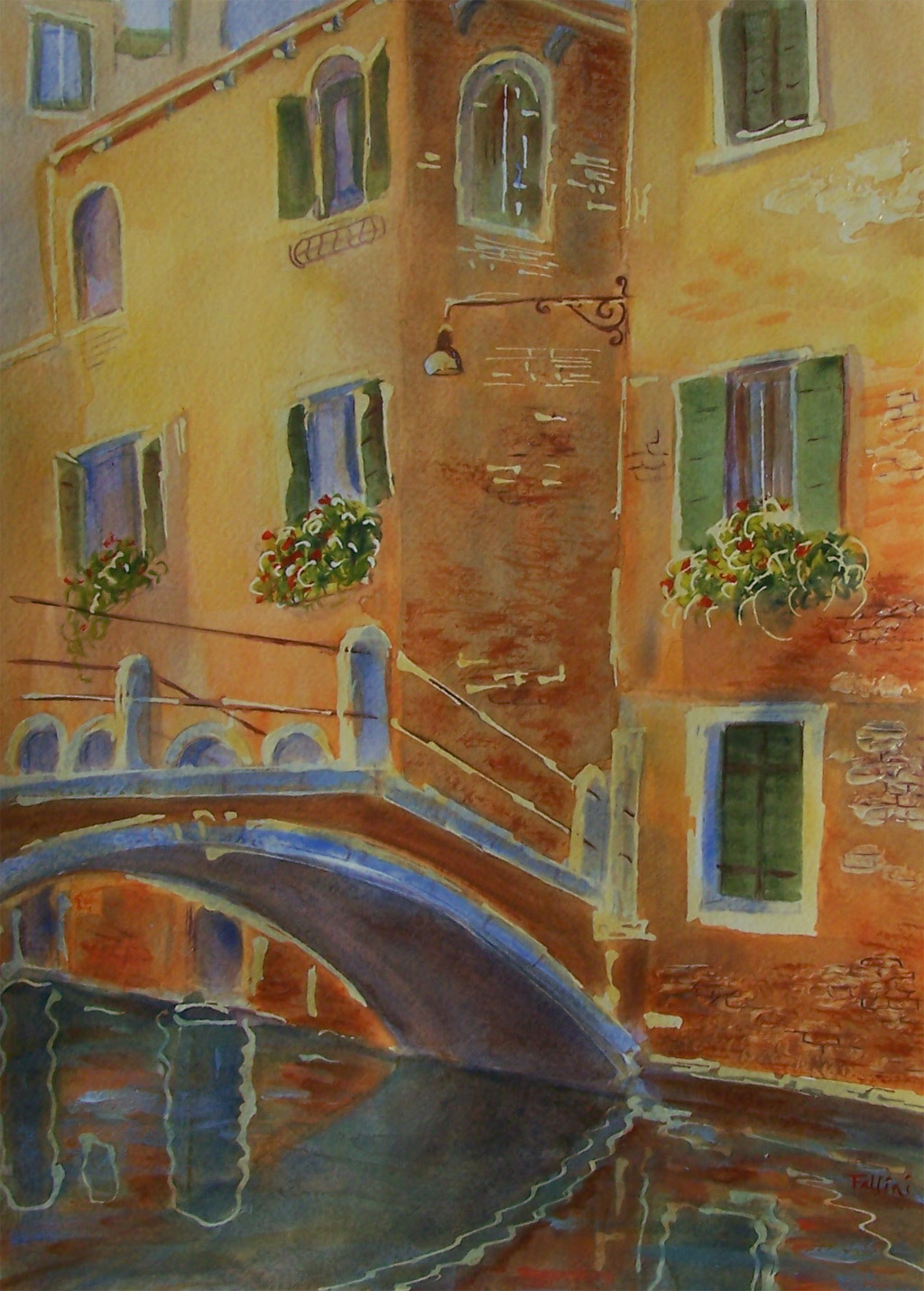 "Venice Italy original acrylic painting on paper 11""x15"" by contemporary artist Monica Fallini"